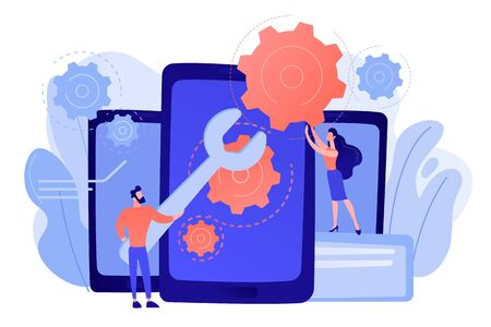 Service technicians with big wrench repairing smartphone screen with gears. Smartphone repair, cell phone service, same day repair concept. Pinkish coral bluevector isolated illustration