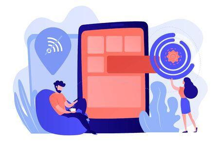 Developer working on web app on smartphone, user offline, tiny people. Progressive web app, working offline web, PWA application development concept. Pinkish coral bluevector isolated illustration