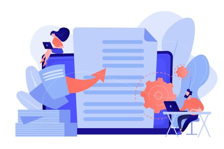Specialists work with laptop digital data, tiny people. Digital transformation, digital solution development, paperless workflow solutions concept. Pinkish coral bluevector isolated illustration