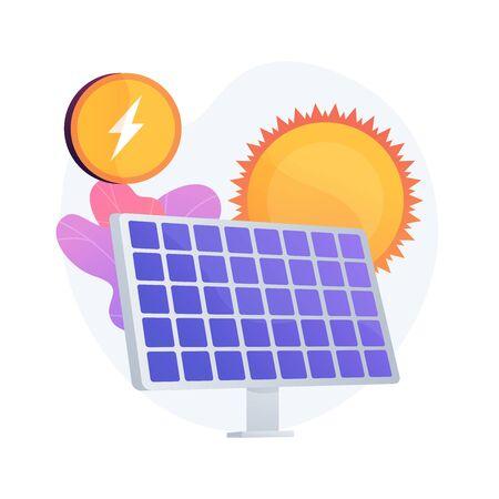 Solar energy technology. Alternative resources, green electricity, renewable energy. Solar batteries, innovative power generating equipment. Vector isolated concept metaphor illustration