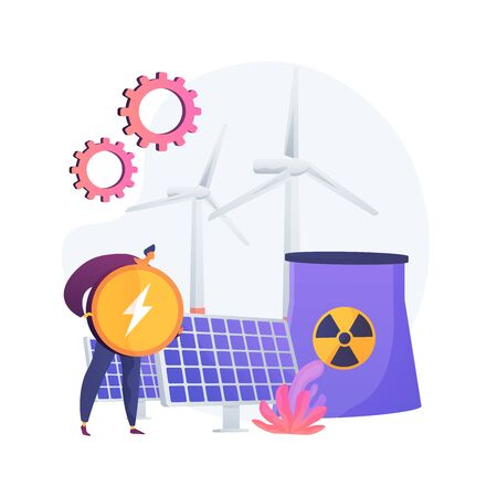 Atomic reactor, windmill and solar battery, energy production. Nuclear power plant, atom fission process. Receiving electric charge metaphor. Vector isolated concept metaphor illustration.