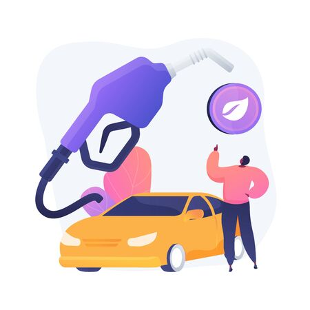 Eco friendly transport, healthy fuel, decaying combustible. Vehicle without harmful substances emission. Environmentally friendly petrol station. Vector isolated concept metaphor illustration.