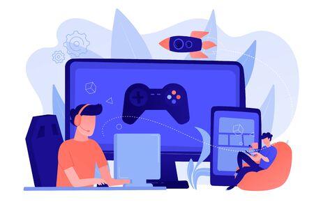 Cross-platform play concept vector illustration. Vektorové ilustrace