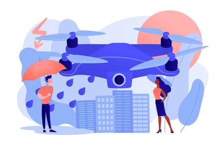 Meteorology drones concept vector illustration.