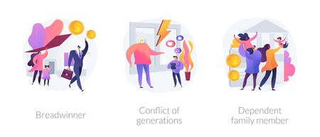 Traditional gender and social roles abstract concept vector illustrations.