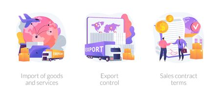 Global trade, distribution and logistics abstract concept vector illustrations.