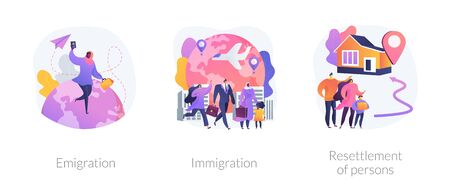 Population mobility, human migration abstract concept vector illustrations.