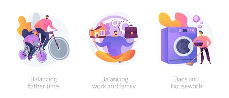 Father career and family balance abstract concept vector illustrations. Ilustração Vetorial