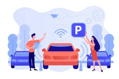 Self-parking car system concept vector illustration. Иллюстрация