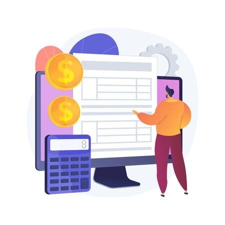 Electronic documentation. Man with registration. Checking repository log. Online approval, screen form, validation page. Expense chronicles. Vector isolated concept metaphor illustration. Illustration