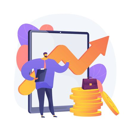 Business growth strategy. Stable company development, income increase planning, enterprise promotion tactics. Top manager presents company profit report. Vector isolated concept metaphor illustration