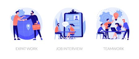 Employment stages icons set. Recruitment service searching candidates. Coworkers business meeting. Expat work, job interview, teamwork metaphors. Website web page template - concept metaphors.