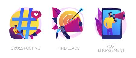 Modern promotion methods icons set. Marketing network. SMM business, customer attraction campaign. Cross-posting, find leads, post engagement metaphors. Vector isolated concept metaphor illustrations