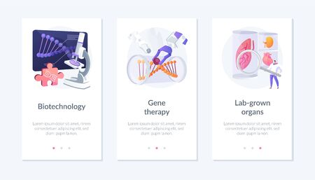 Biomedical and molecular engineering, dna molecule analysis, scientific experiment. Biotechnology, gene therapy, lab-grown organs metaphors. Mobile app UI interface wireframe template.