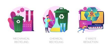 Waste material reuse vector concept metaphors.