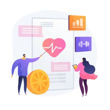 Cardio exercising and healthy lifestyle vector concept metaphor. Ilustracja