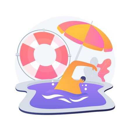 Swimming and lifesaving classes. Lifeguard training, rescue team coach, water safety instructor. Life saving equipment. Rescuers exercises. Vector isolated concept metaphor illustration
