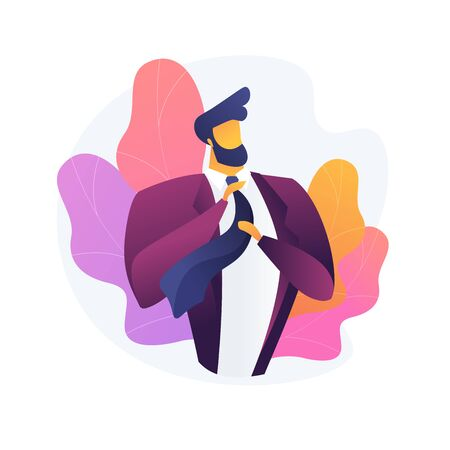 Men style and fashion. Male clothes, elegant apparel, stylish accessories. Handsome man wearing luxury jacket. Bearded macho fixing tie. Vector isolated concept metaphor illustration