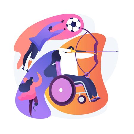 People with disabilities doing sports, taking part in competitions. Archery, running, football. Disabled sports, adaptive, parasports. Vector isolated concept metaphor illustration