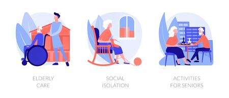 Senior people support flat icons set. Pensioners loneliness problem. Elderly care, social isolation, activities for seniors metaphors. Vector isolated concept metaphor illustrations. Illustration