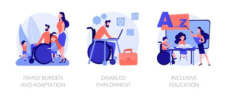 Disabled people assistance vector concept metaphors.