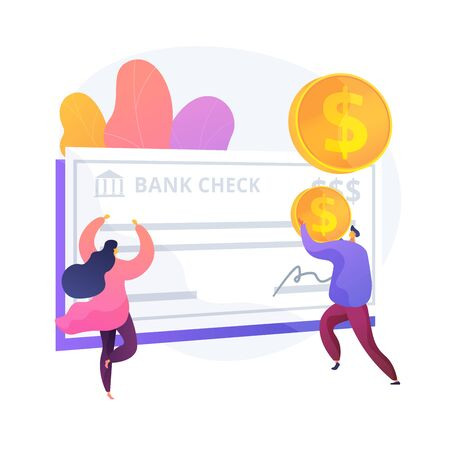 Employee getting ppayment in payday cartoon character. Paycheck stub, salary statement, payslip note. Financial operation. Currency transaction. Vector isolated concept metaphor illustration Vettoriali