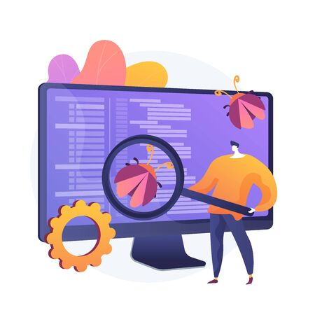 Software testing. Programmer cartoon character with magnifier looking for defects in programme, application. Software bugs, errors, risks. Vector isolated concept metaphor illustration