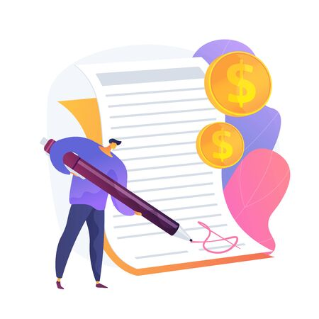 Man with pen writing signature on document. Licensing signing, pact arrangement, business agreement. Businessman making money deal cartoon character. Vector isolated concept metaphor illustration