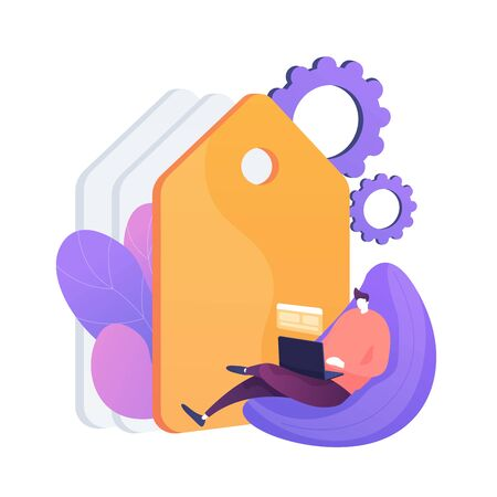 Freelance programming. Programmer cartoon character working with laptop, sitting in armchair. Freelancing, work from home, self-employed. Vector isolated concept metaphor illustration