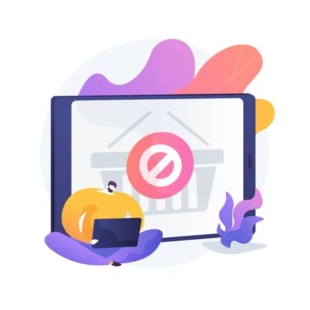 Purchase ban, online store website error, cancel buying . Order placing inability, buy limit, budget line. Online buyer cartoon character. Vector isolated concept metaphor illustration.