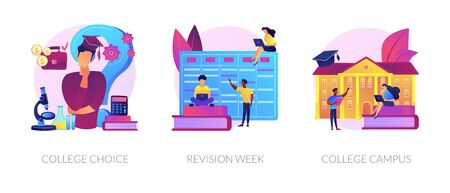 Important decision making, higher education institution choosing, student lifestyle icons set. College choice, revision week, college campus metaphors. Vector isolated concept metaphor illustrations Ilustración de vector