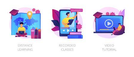 Heimunterricht, Fernuniversitätsabschluss, Symbole für Online-Bildungsmaterialien eingestellt. Fernunterricht, aufgezeichnete Klassen, Video-Tutorial-Metaphern. Vektor isolierte Konzept-Metapher-Illustrationen