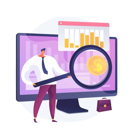 Company development statistics. Financial analytics, investment revenue, growth rates. Stock broker, investor analyzing profitable economy sectors. Vector isolated concept metaphor illustration Ilustração