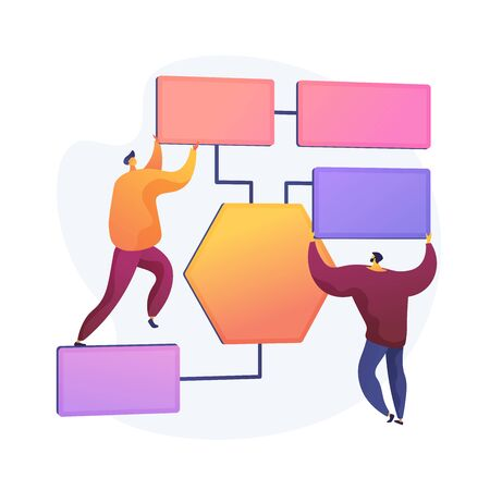Business processes organization. Workforce distribution, delegating responsibilities, scheduling and planning. Managerial supervision and control. Vector isolated concept metaphor illustration Illustration