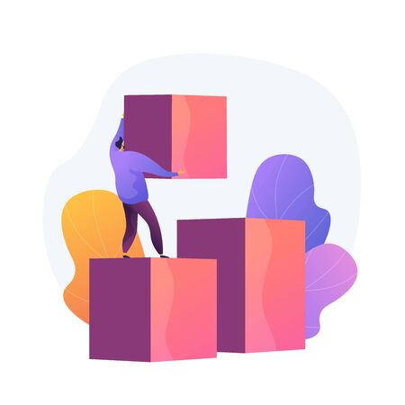 Self made businessman. Career ladder. Personal improvement, new opportunity. Man with cubes building stairs. Business growth, strategy development. Vector isolated concept metaphor illustration