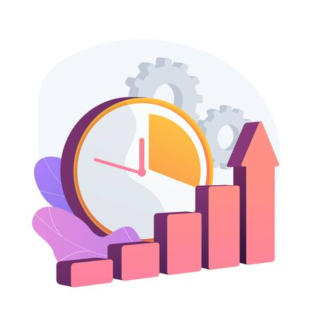 Clock and increasing chart. Workflow productivity increase, work performance optimization, efficiency indicator. Rising effectiveness metrics. Vector isolated concept metaphor illustration 向量圖像