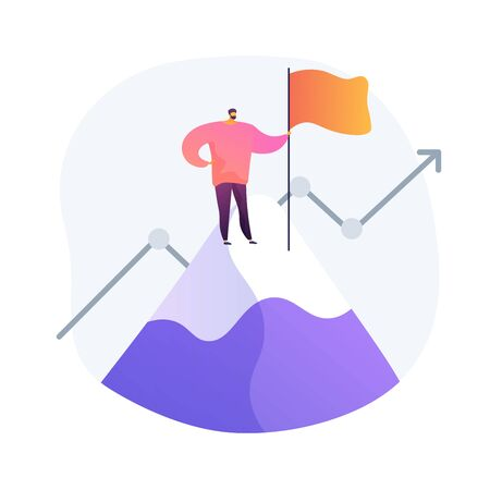 Ambitious businessman on top. Business growth, leadership quality, career opportunity. Success achievement, aspirations realization idea. Vector isolated concept metaphor illustration 向量圖像