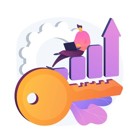 Business strategy, success key. Productivity, KPI performance, efficiency. Male analyst flat character sitting on diagram. Report analysis. Vector isolated concept metaphor illustration 向量圖像