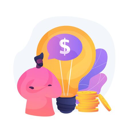 Intellectual property. Creative idea monetization, author rights protection, invention patent registration. Profitable startup, license fees payment. Vector isolated concept metaphor illustration