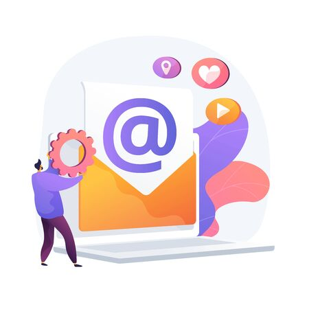 Electronic mail. Receiving and sending e mails. Exchanging messages by electronic device. Internet connection, communication, correspondence. Vector isolated concept metaphor illustration