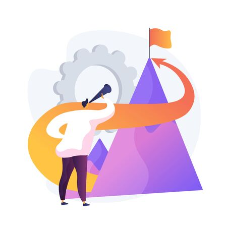 Company mission statement. Business goals setting, enterprise tasks, corporate aspirations. Core company commitments, professional opportunities. Vector isolated concept metaphor illustration