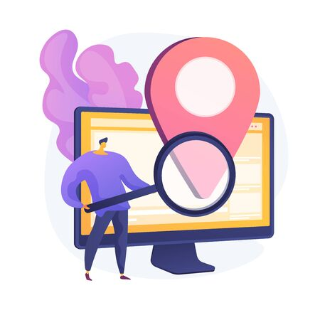 Location based advertisement. Geolocation software, online gps app, navigation system. Geographic restriction. Man searching address with magnifier. Vector isolated concept metaphor illustration Ilustração