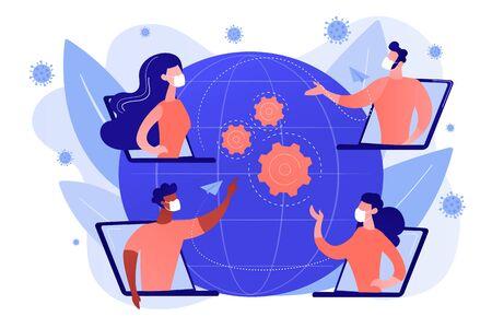 Covid-2019 quarantine business response concept illustration.