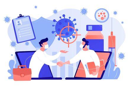 Covid-2019 vaccine research vector concept illustration.