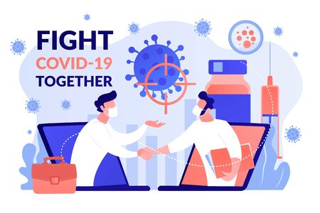Fight Covid-2019 together vector concept illustration.