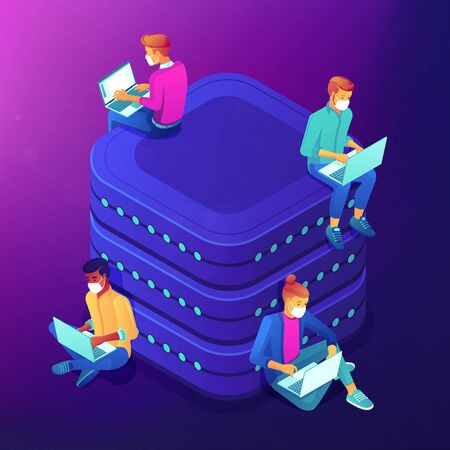 Social networking during self-isolation abstract isometric illus