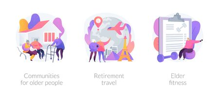 Senior people care metaphors. Communities for pensioners, retirement travel, elderly fitness. Old people support services. Nursery home. Vector isolated concept metaphor illustrations. Vectores