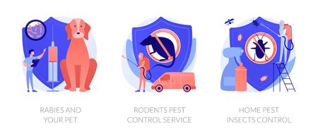 Animals antirabic vaccinations. House disinfection equipment. Rabies and your pet, rodents pest control service, home pest insects control metaphors. Vector isolated concept metaphor illustrations