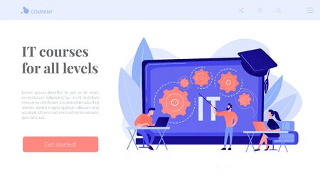 Information technology courses concept landing page