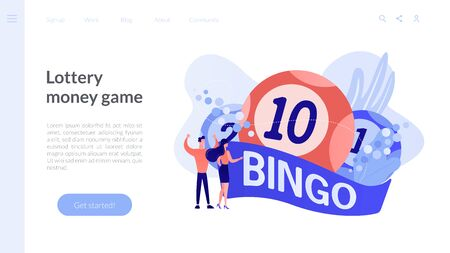 Lottery game concept landing page. Ilustrace